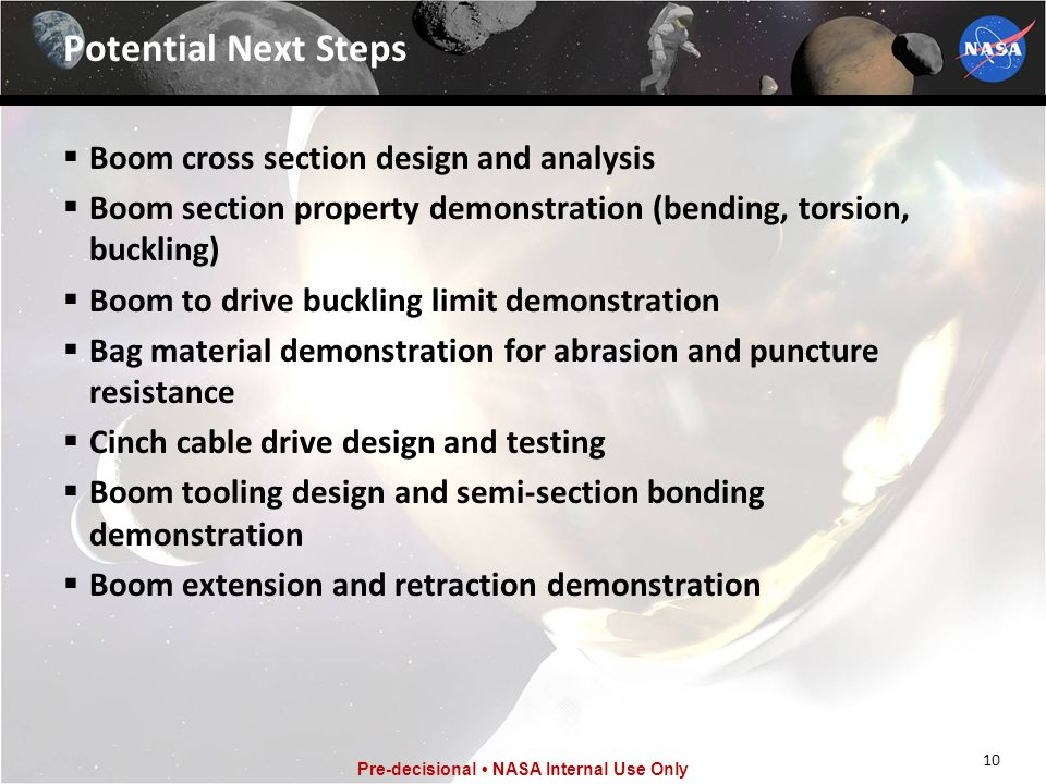 Potential Next Steps Boom cross section design and analysis
