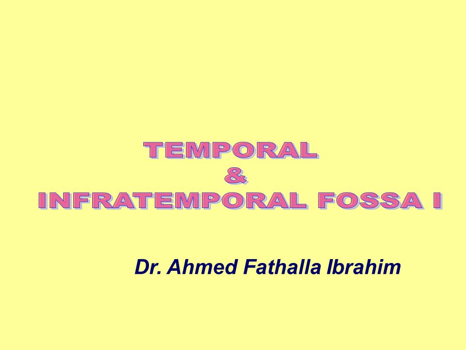 TEMPORAL & INFRATEMPORAL FOSSA I Dr. Ahmed Fathalla Ibrahim