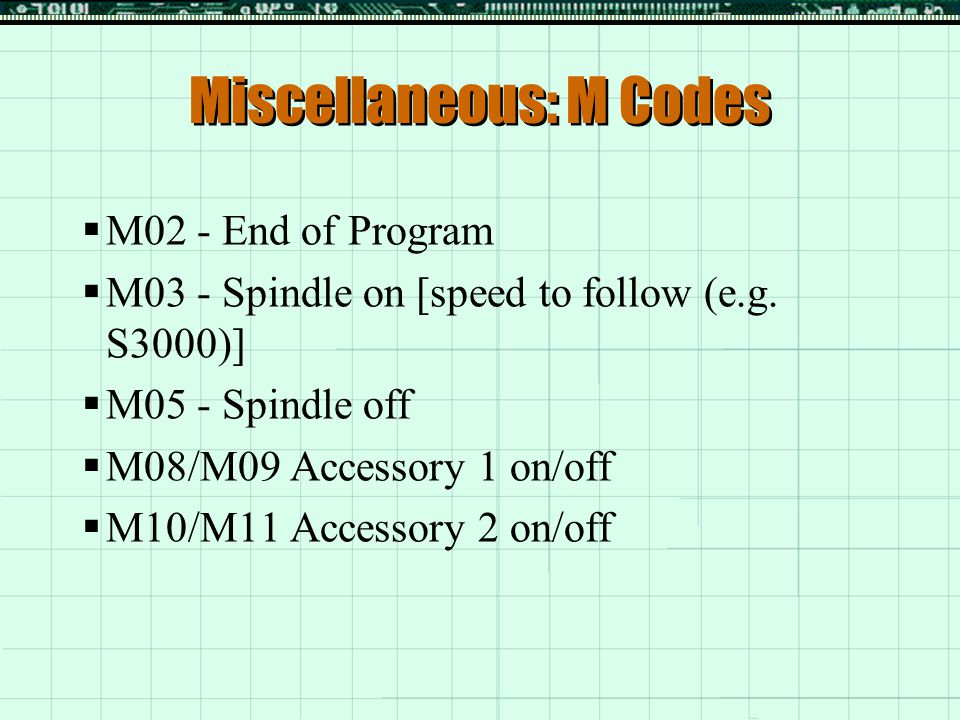 Miscellaneous: M Codes