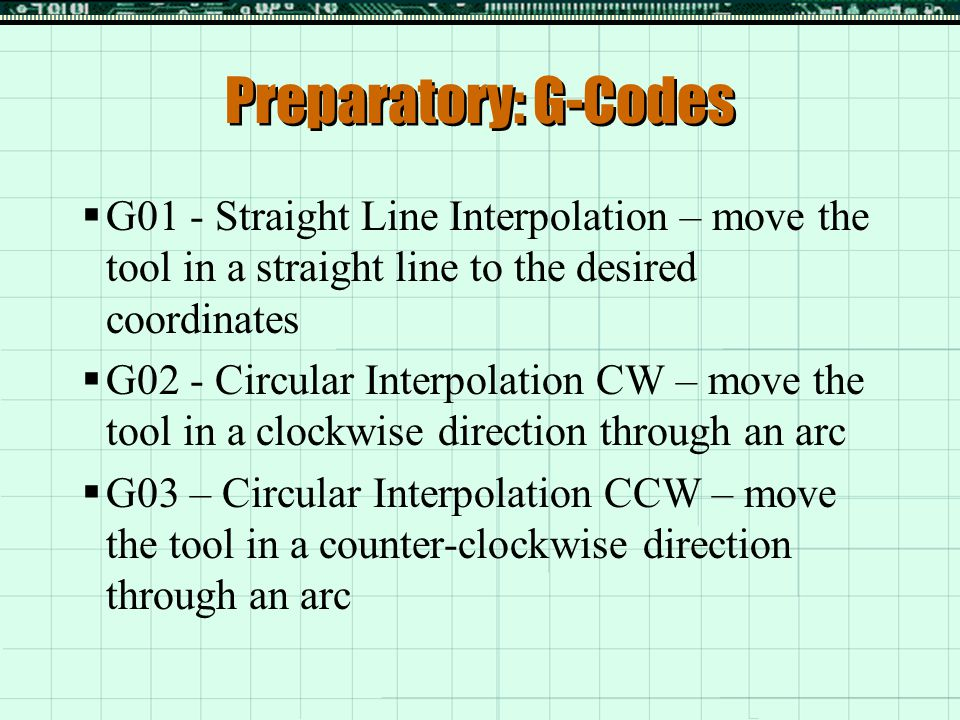 Preparatory: G-Codes G01 - Straight Line Interpolation – move the tool in a straight line to the desired coordinates.