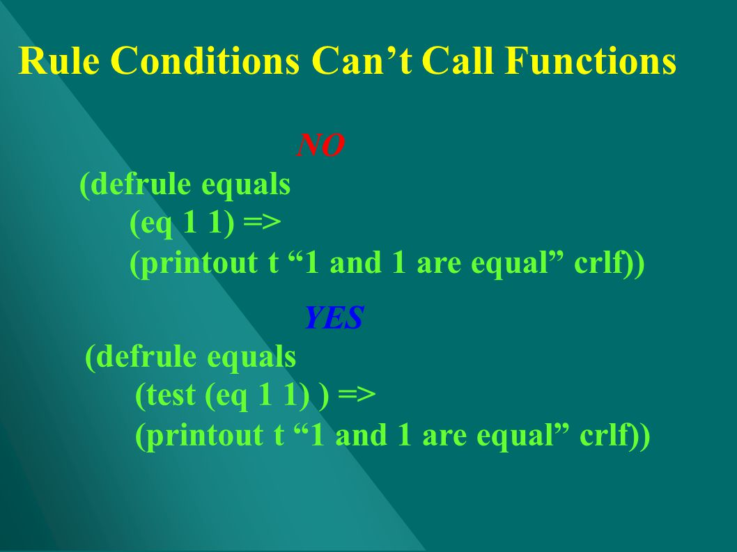 Rule Conditions Can't Call Functions