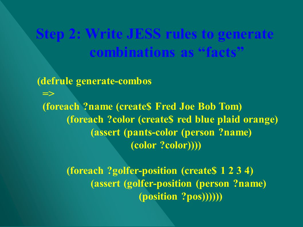 Step 2: Write JESS rules to generate combinations as facts