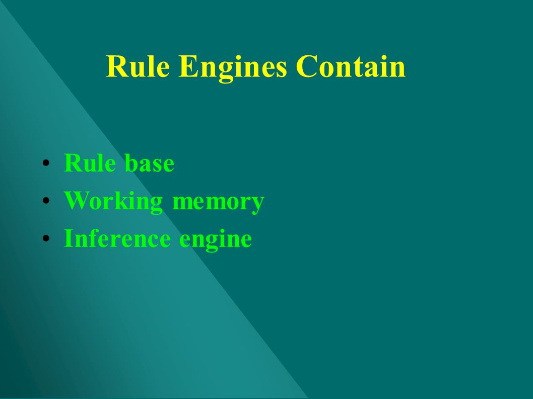Rule Engines Contain Rule base Working memory Inference engine