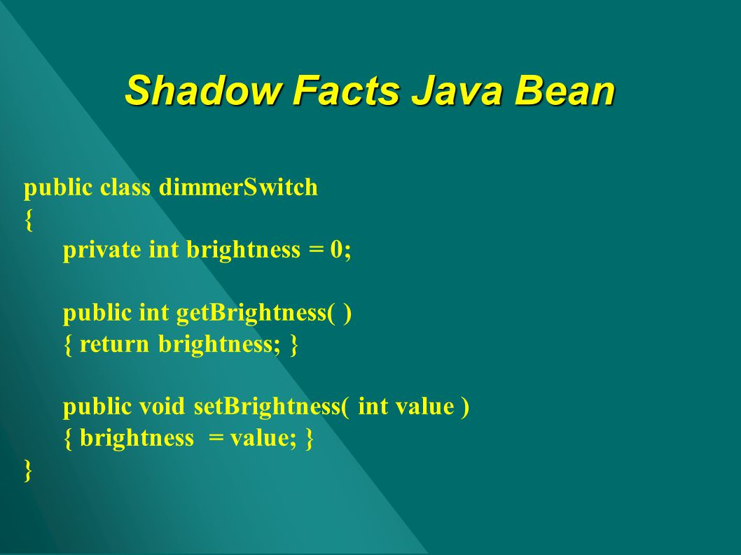 Shadow Facts Java Bean public class dimmerSwitch {