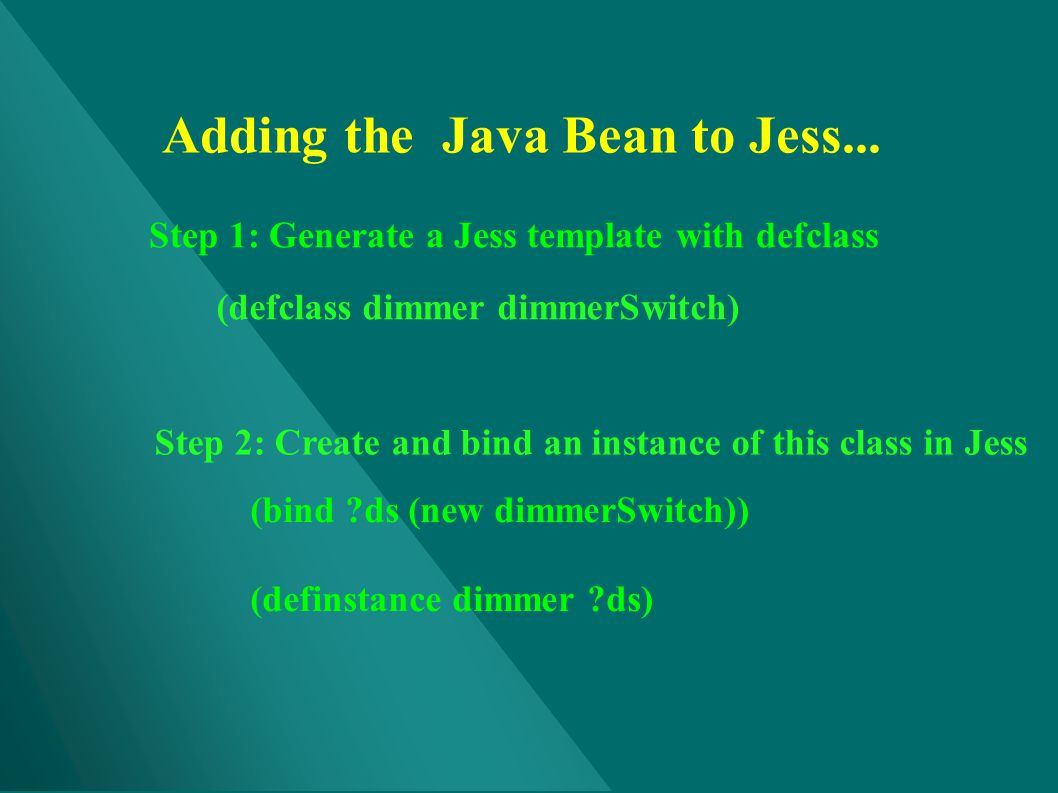 Adding the Java Bean to Jess...