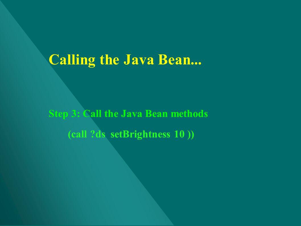Calling the Java Bean... Step 3: Call the Java Bean methods