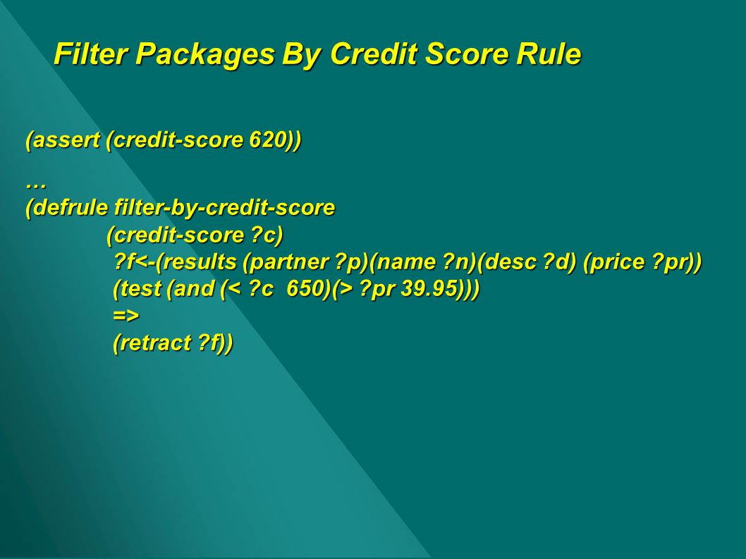 Filter Packages By Credit Score Rule