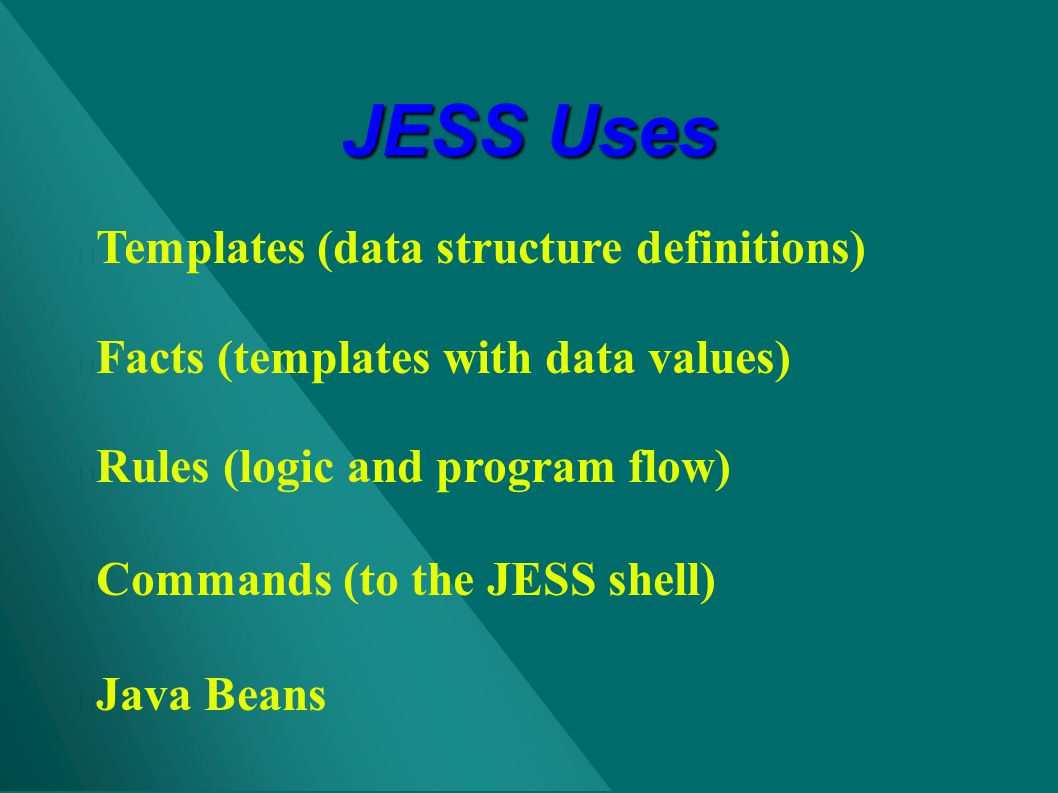 JESS Uses Templates (data structure definitions)