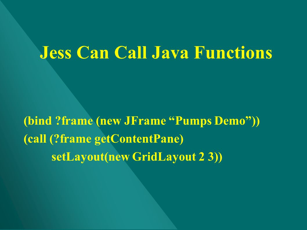 Jess Can Call Java Functions