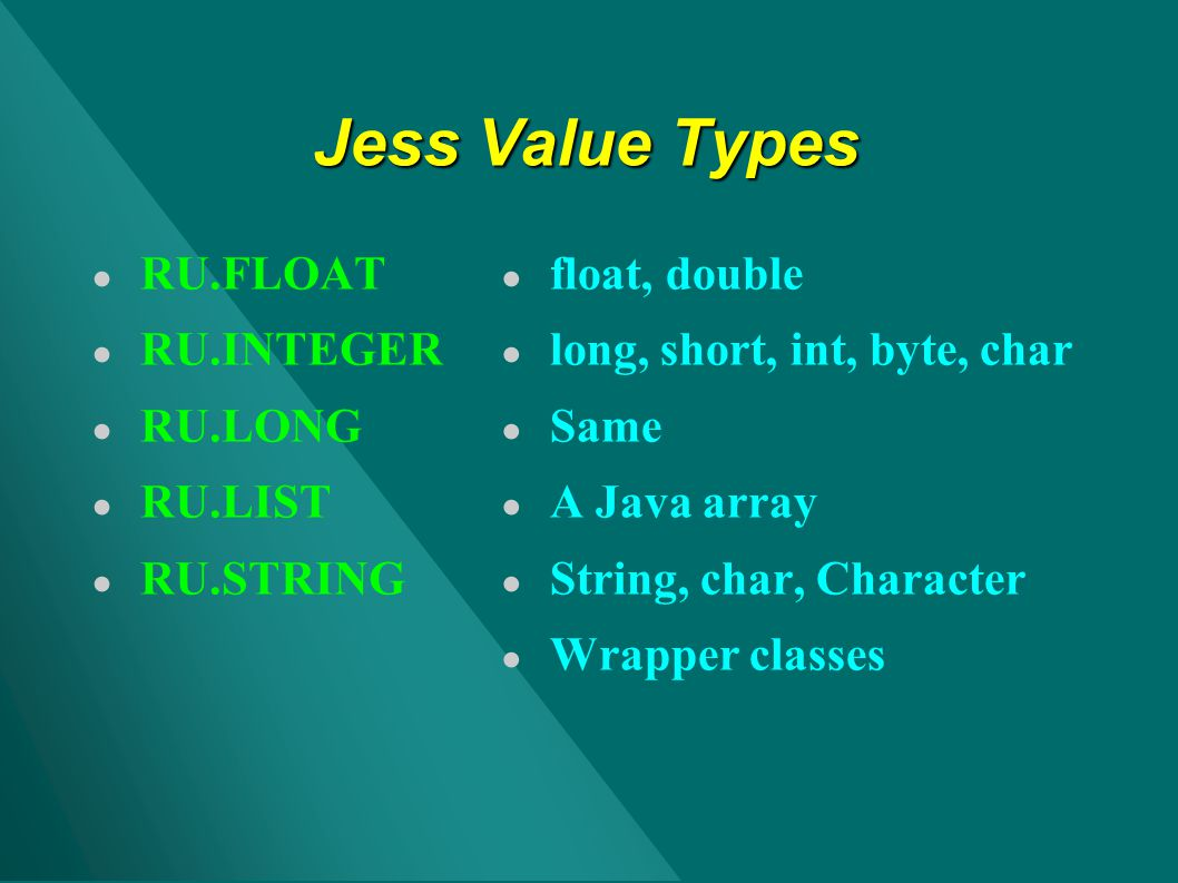Jess Value Types RU.FLOAT RU.INTEGER RU.LONG RU.LIST RU.STRING