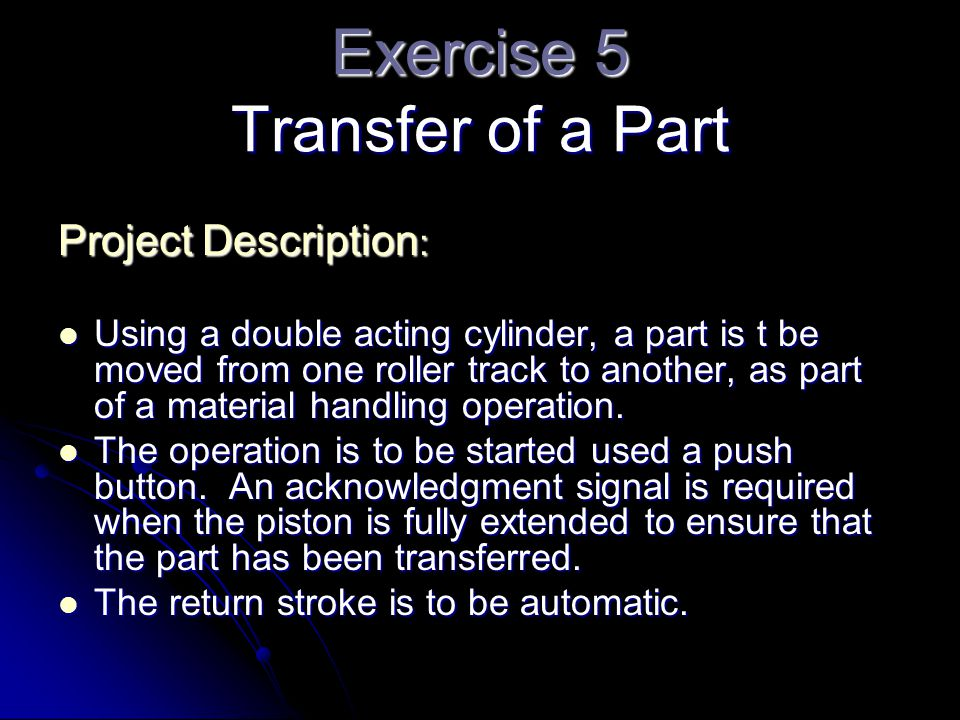 Exercise 5 Transfer of a Part