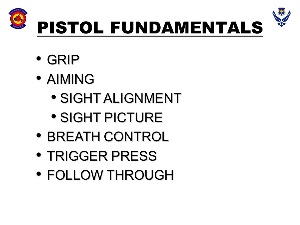 PISTOL FUNDAMENTALS GRIP AIMING SIGHT ALIGNMENT SIGHT PICTURE