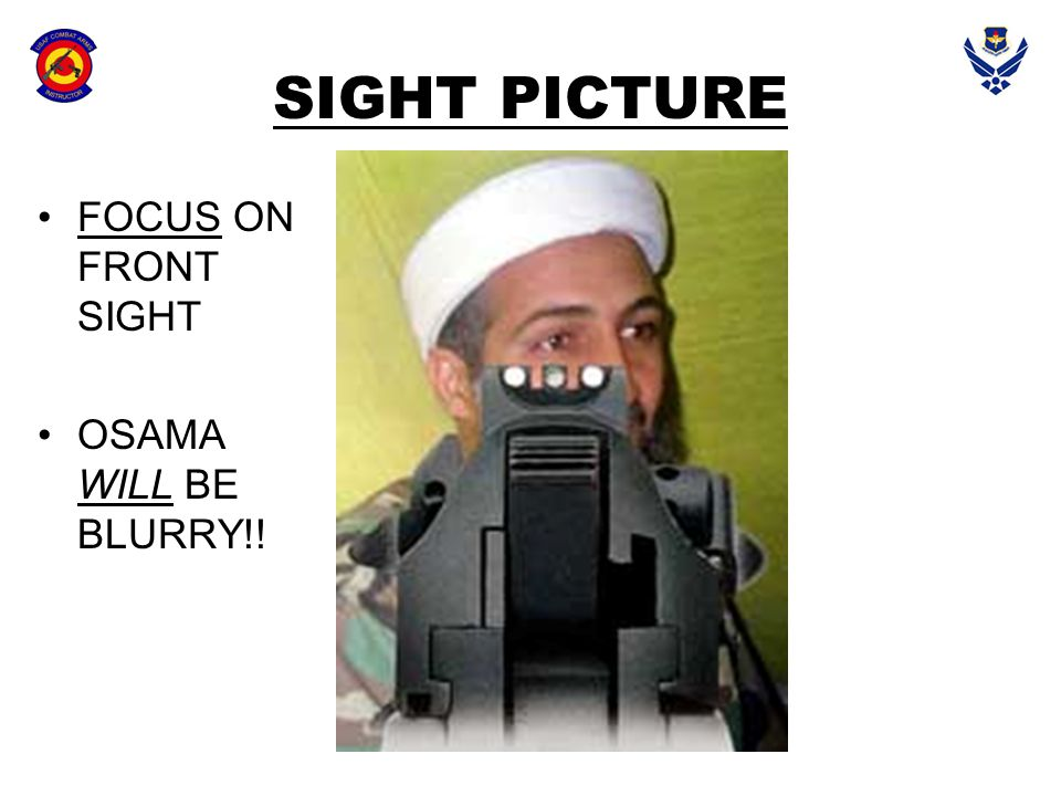SIGHT PICTURE FOCUS ON FRONT SIGHT OSAMA WILL BE BLURRY!!