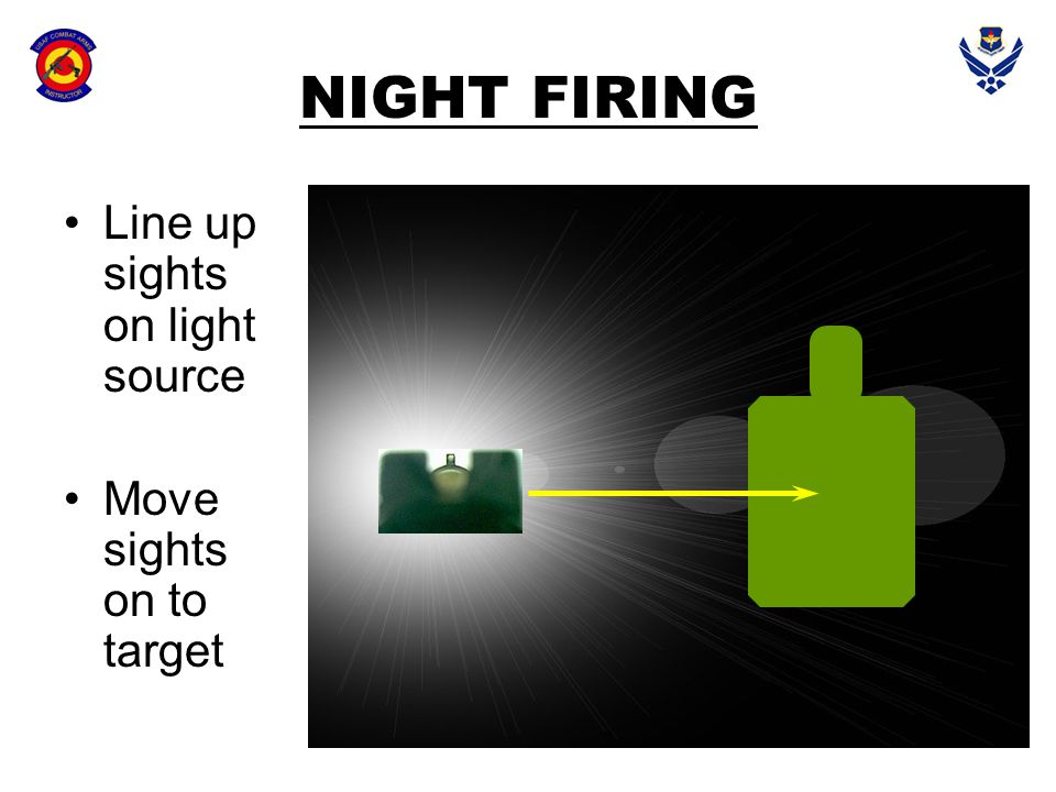 NIGHT FIRING Line up sights on light source Move sights on to target