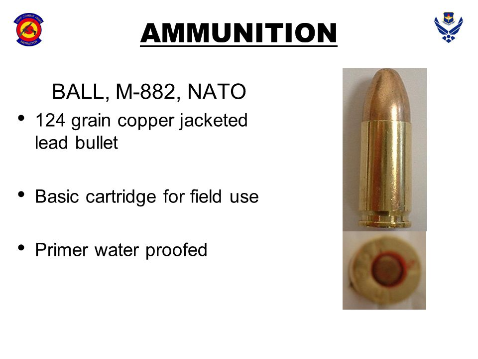AMMUNITION BALL, M-882, NATO 124 grain copper jacketed lead bullet