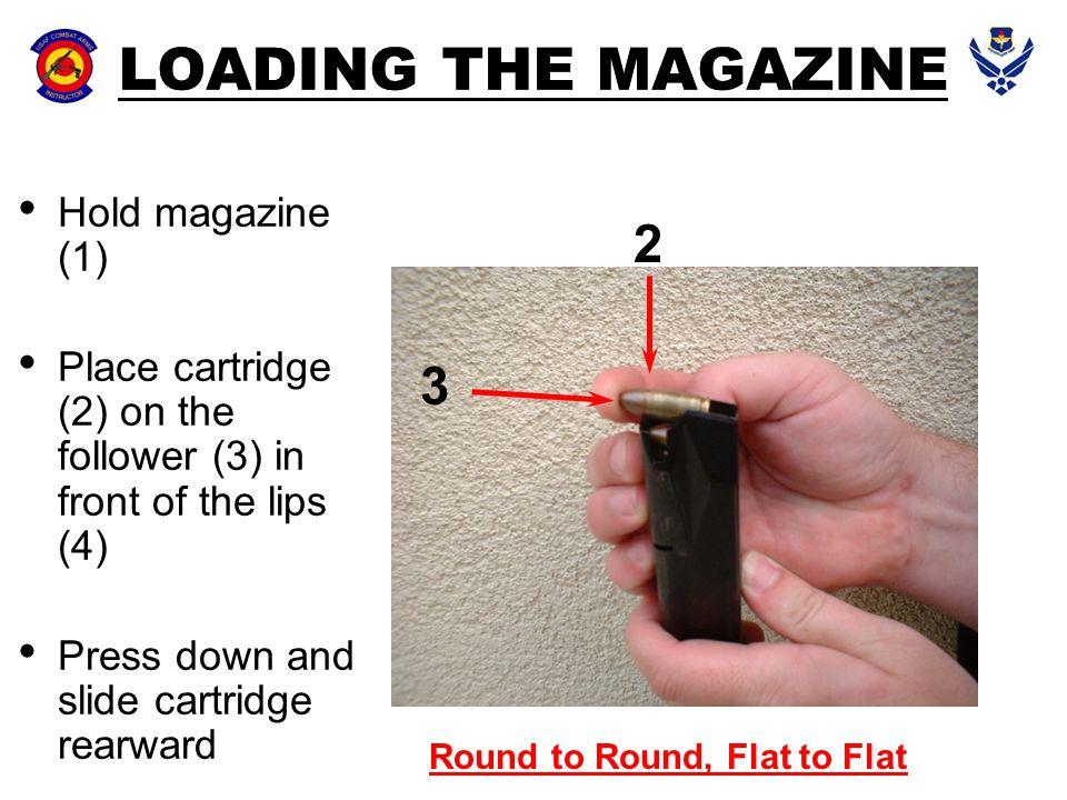 LOADING THE MAGAZINE 2 3 Hold magazine (1)