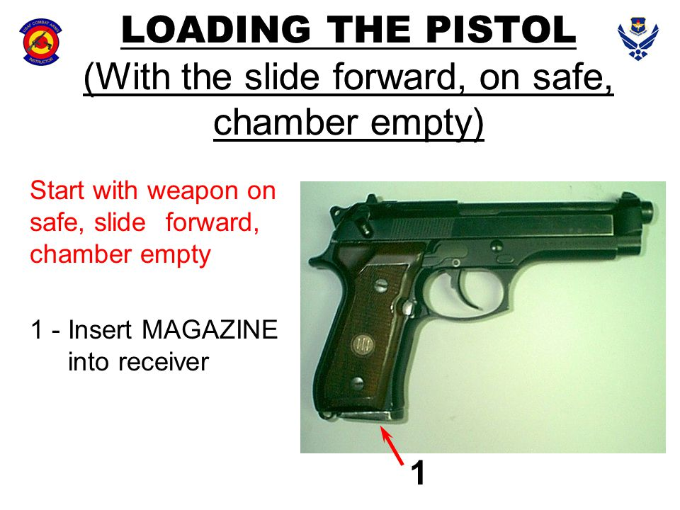 LOADING THE PISTOL (With the slide forward, on safe, chamber empty)