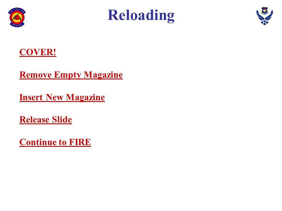 Reloading COVER! Remove Empty Magazine Insert New Magazine