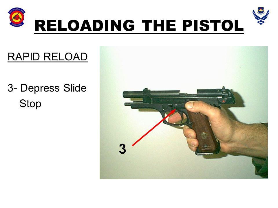 RELOADING THE PISTOL RAPID RELOAD 3- Depress Slide Stop 3