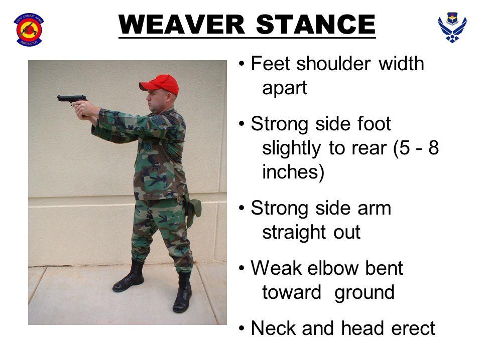 WEAVER STANCE Feet shoulder width apart