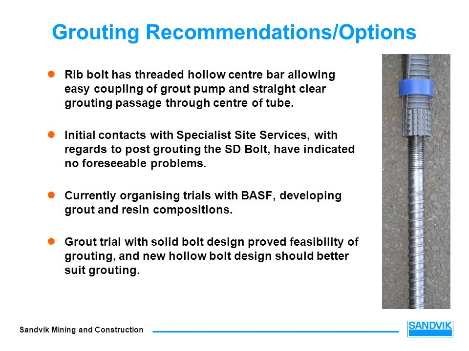 Grouting Recommendations/Options