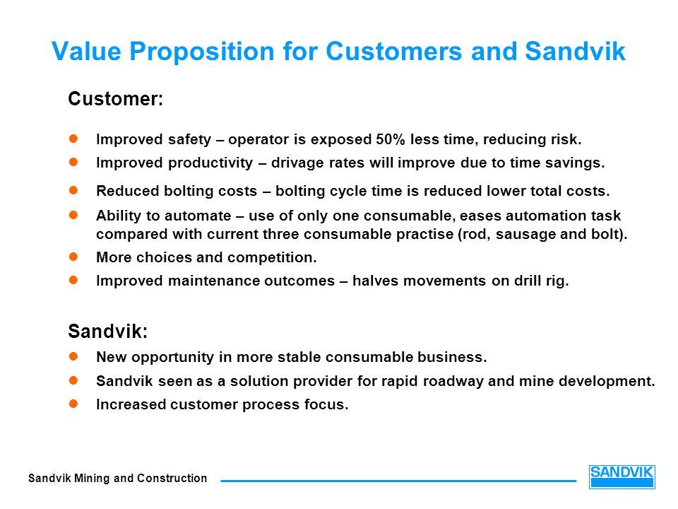 Value Proposition for Customers and Sandvik