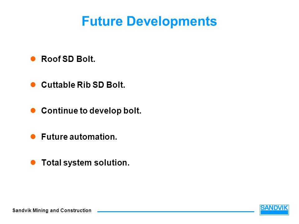 Future Developments Roof SD Bolt. Cuttable Rib SD Bolt.