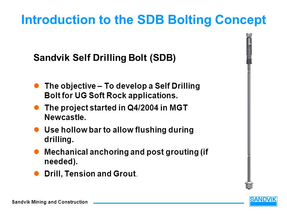 Introduction to the SDB Bolting Concept