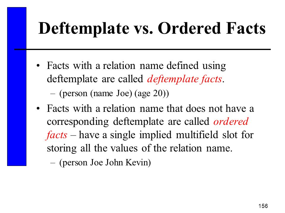 Deftemplate vs. Ordered Facts
