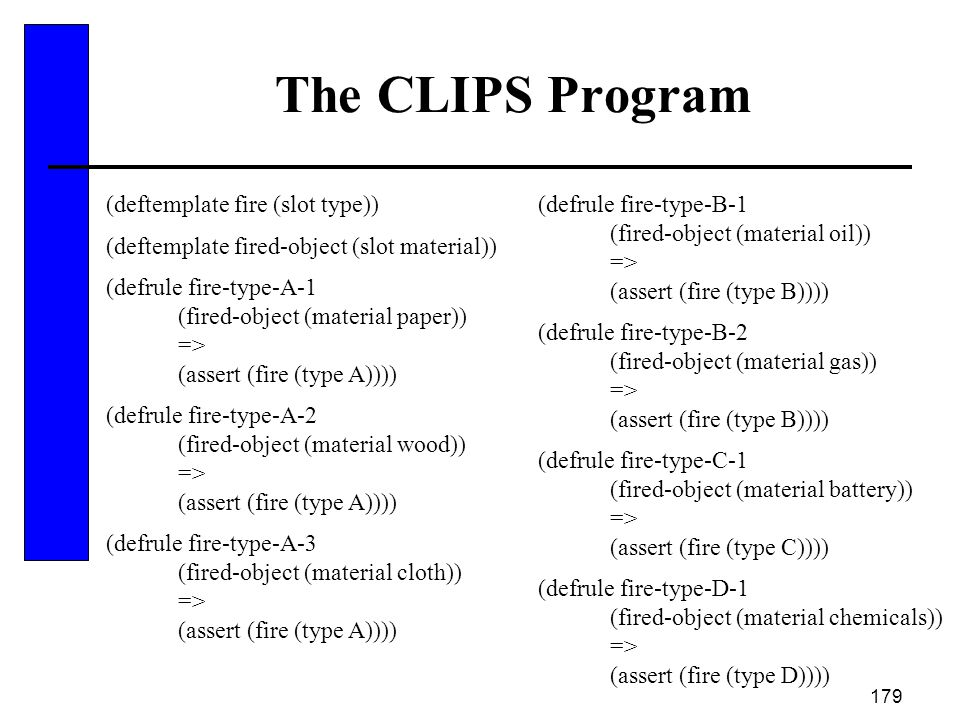 The CLIPS Program (deftemplate fire (slot type))