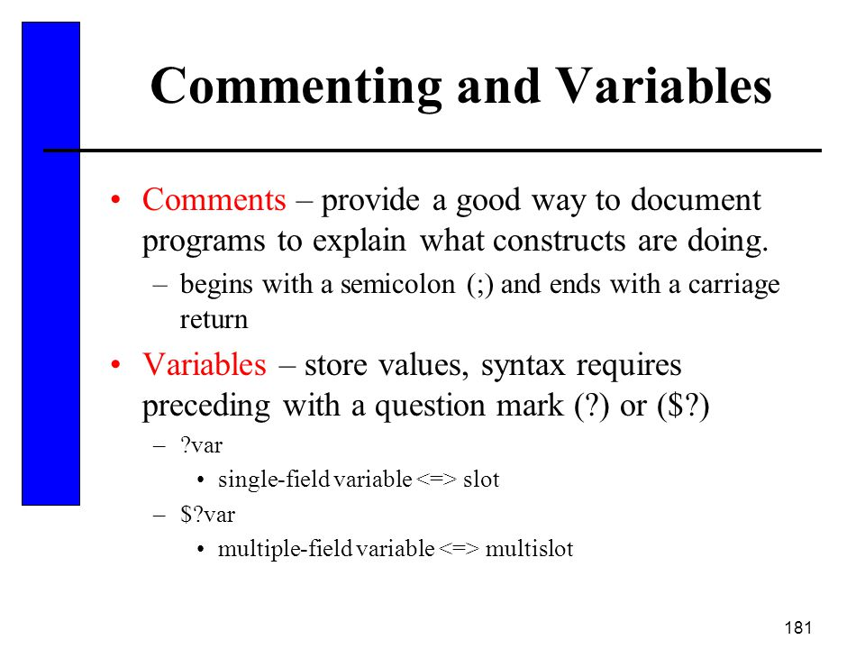 Commenting and Variables