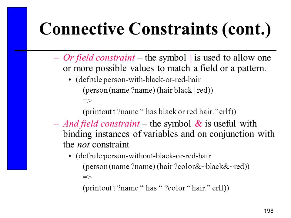 Connective Constraints (cont.)