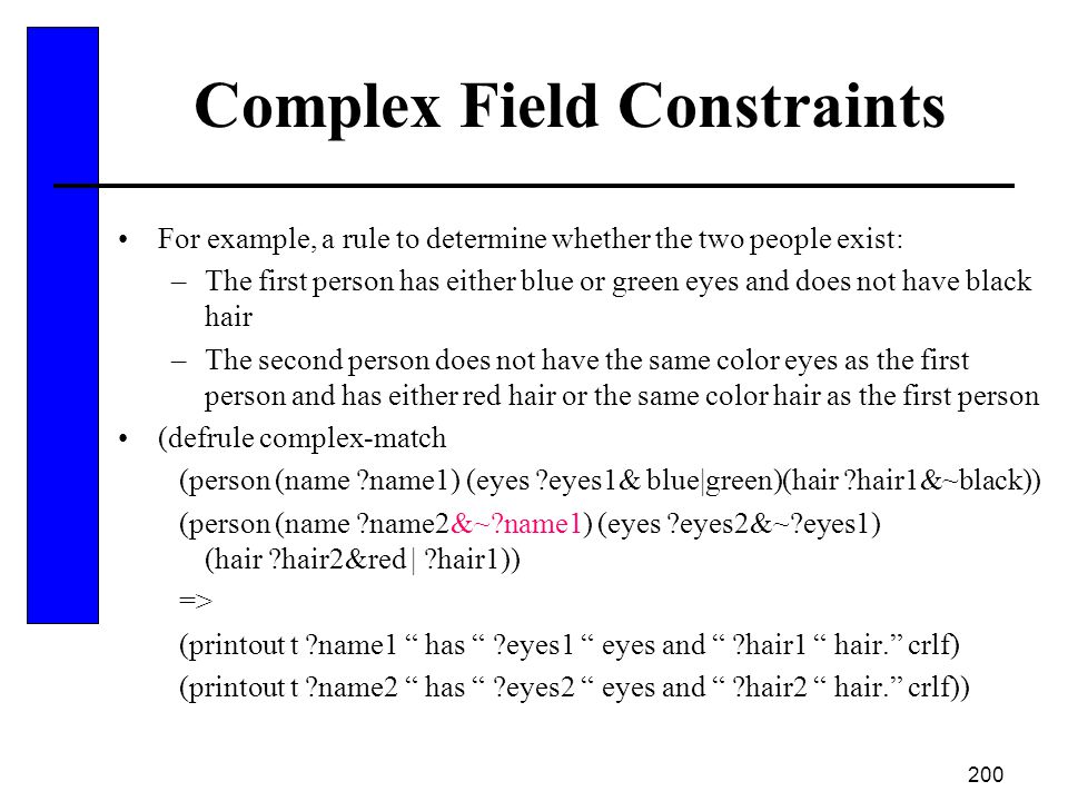 Complex Field Constraints