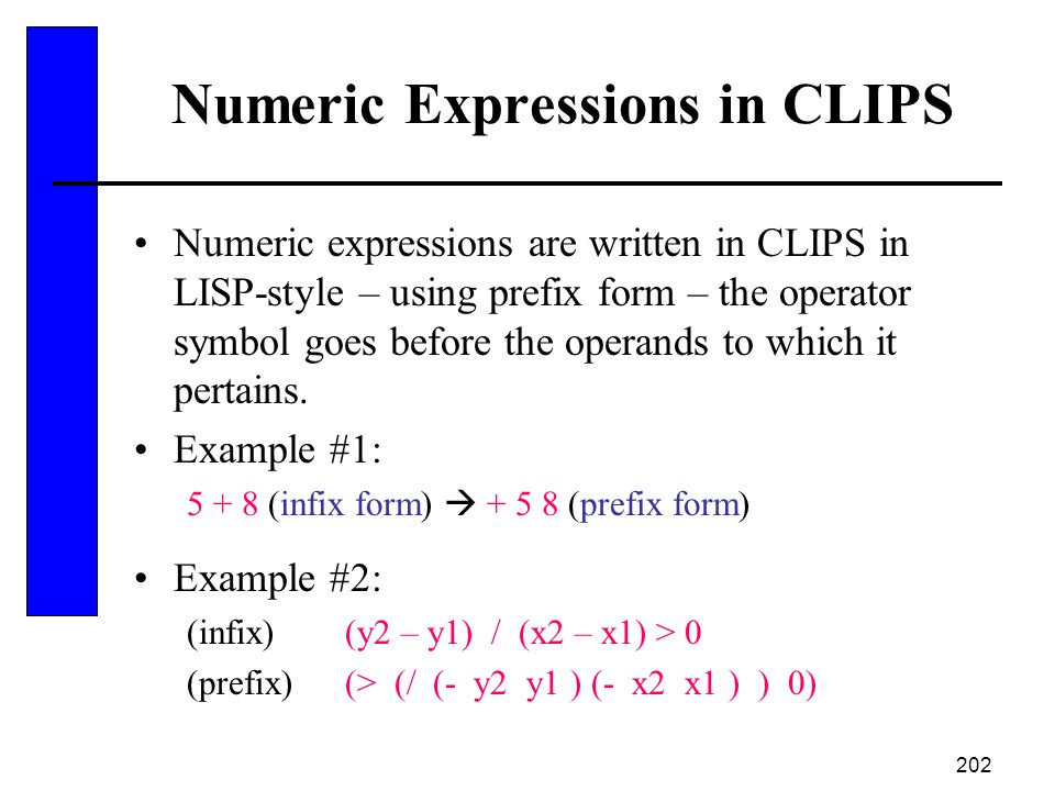 Numeric Expressions in CLIPS
