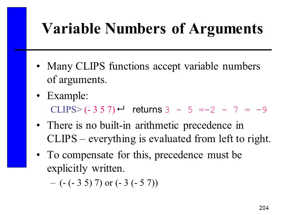Variable Numbers of Arguments