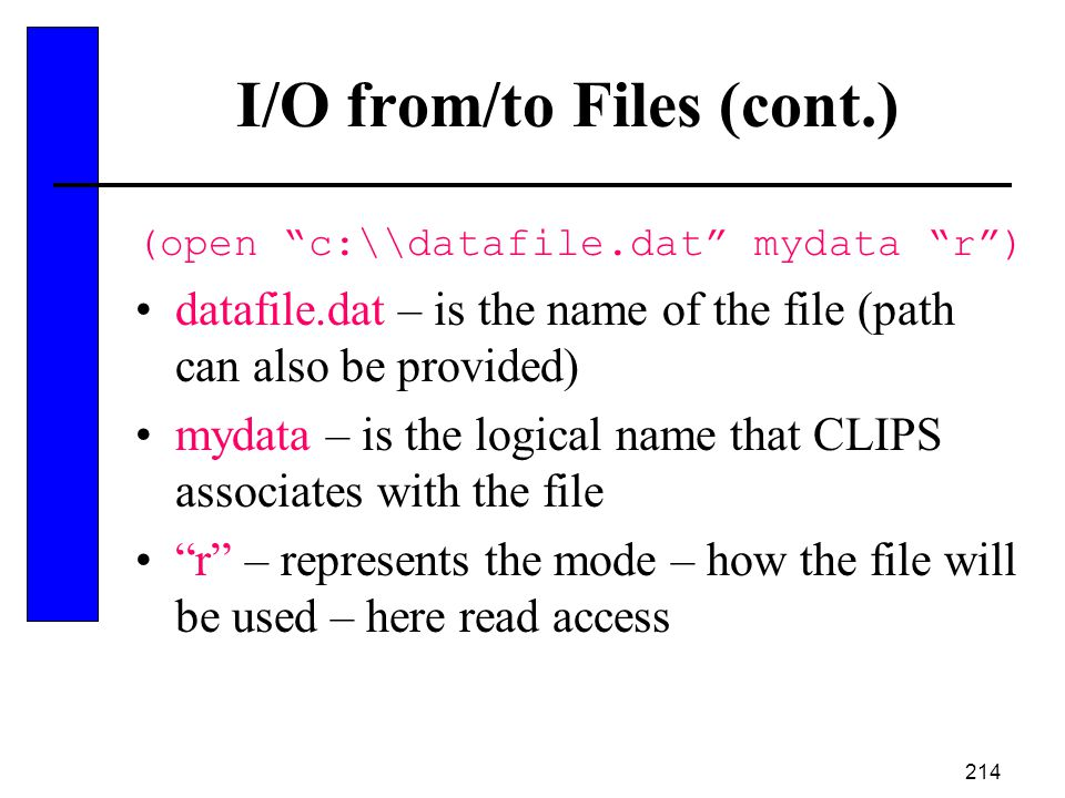 I/O from/to Files (cont.)