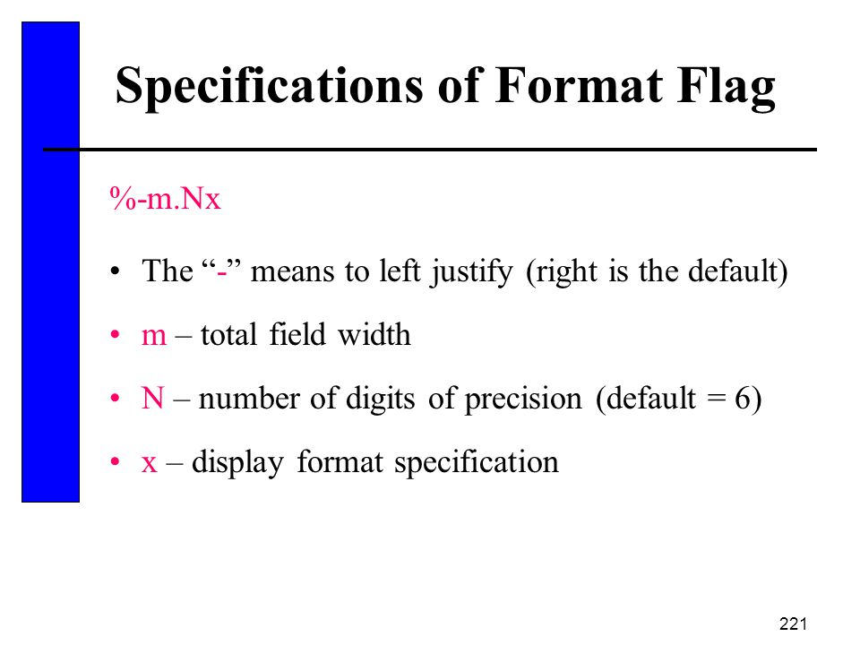 Specifications of Format Flag