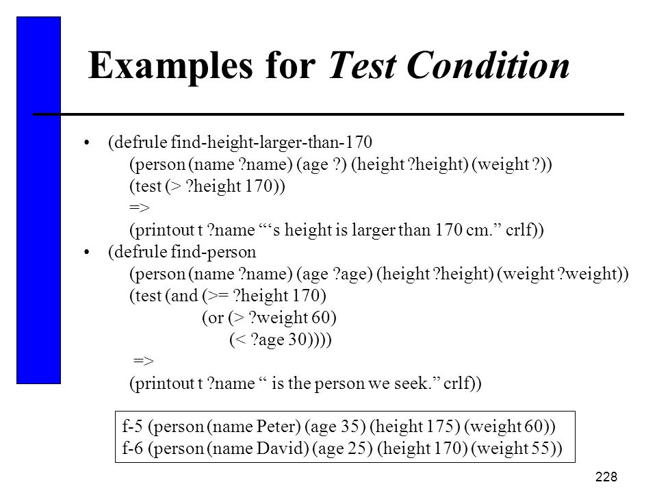 Examples for Test Condition
