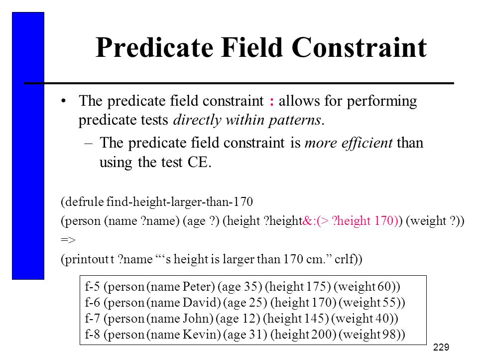 Predicate Field Constraint