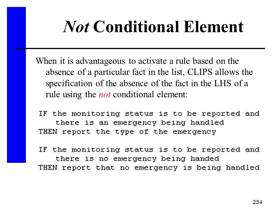 Not Conditional Element