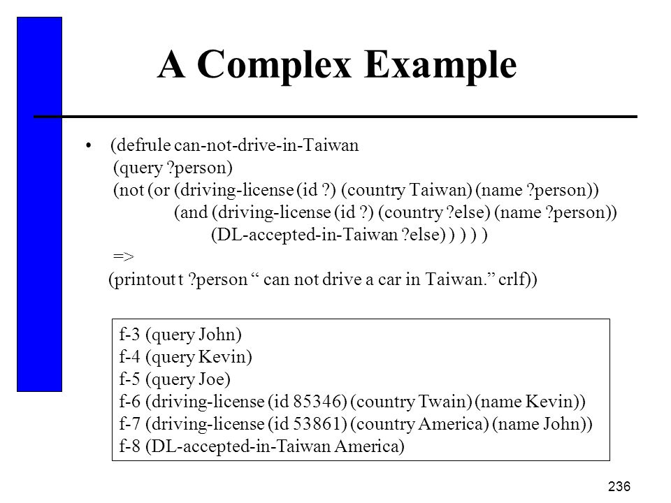 A Complex Example (defrule can-not-drive-in-Taiwan (query person)