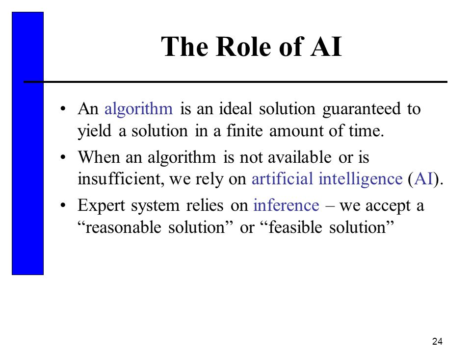 The Role of AI An algorithm is an ideal solution guaranteed to yield a solution in a finite amount of time.