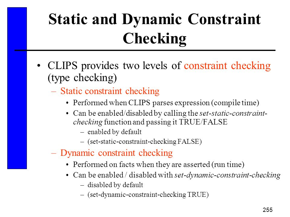 Static and Dynamic Constraint Checking
