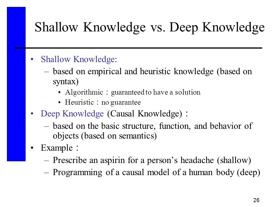 Shallow Knowledge vs. Deep Knowledge