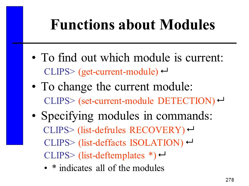 Functions about Modules