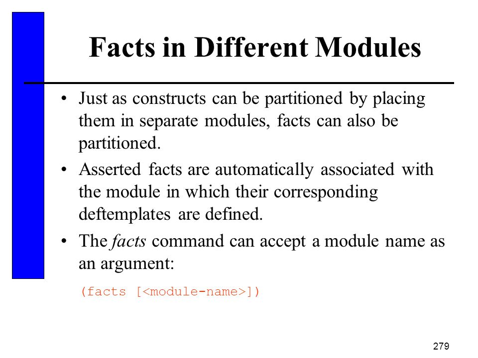Facts in Different Modules