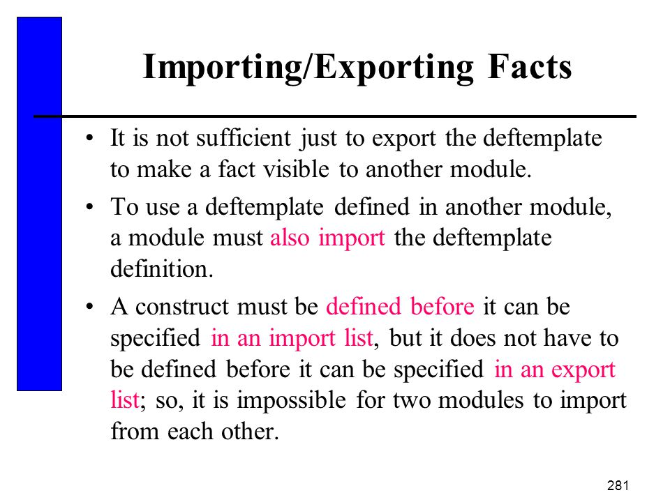 Importing/Exporting Facts