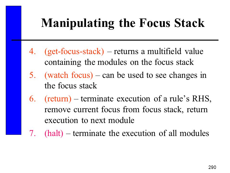 Manipulating the Focus Stack