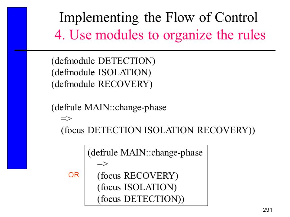 Implementing the Flow of Control 4. Use modules to organize the rules