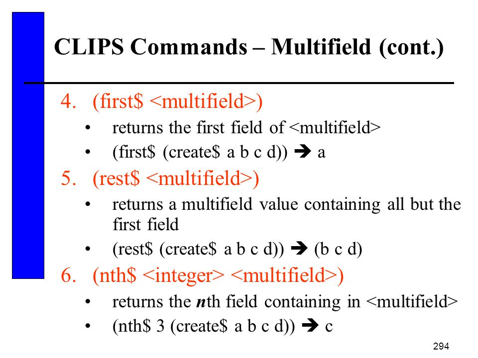 CLIPS Commands – Multifield (cont.)